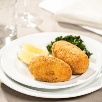 Croquettes aux crevettes grises d'Ostende, persil frit et citron à part
